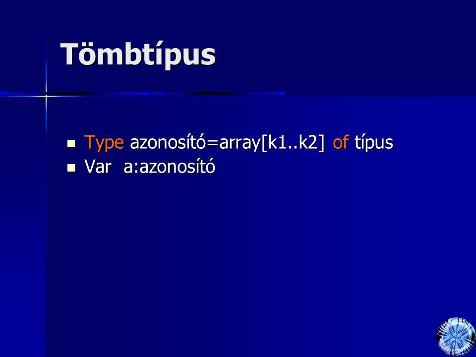 Tömbtípus Type azonosító=array[k1..k2] of típus Var a:azonosító